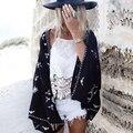Verão das mulheres do Vintage bordado Floral Kimono Cardigan casaco de manga comprida blusa cabo revestimento curto Casual roupa de praia protetor solar Tops