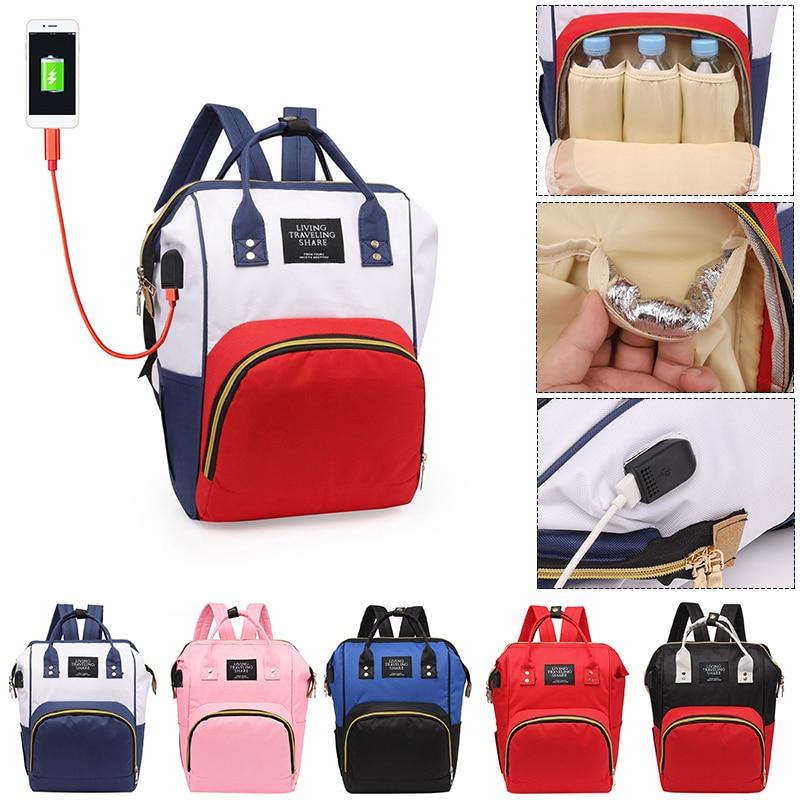 USB Port Charging Mummy Diaper Bag Zipper Mother Nappy Bags Large Capacity Maternity Travel Handbag Nursing Bag Women Backpacks