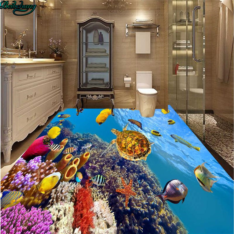 Us 17 7 41 Off Beibehang Large Custom Underwater World Tropical Fish 3d Floor Tiles Living Room Bedroom Wall Kitchen Bathroom Home Decoration In