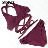 OMKAGI Brand Brazilian Bikinis Women 2018 Swimsuit Swimwear Swimming Bathing Suit Beachwear Sexy Push Up Solid