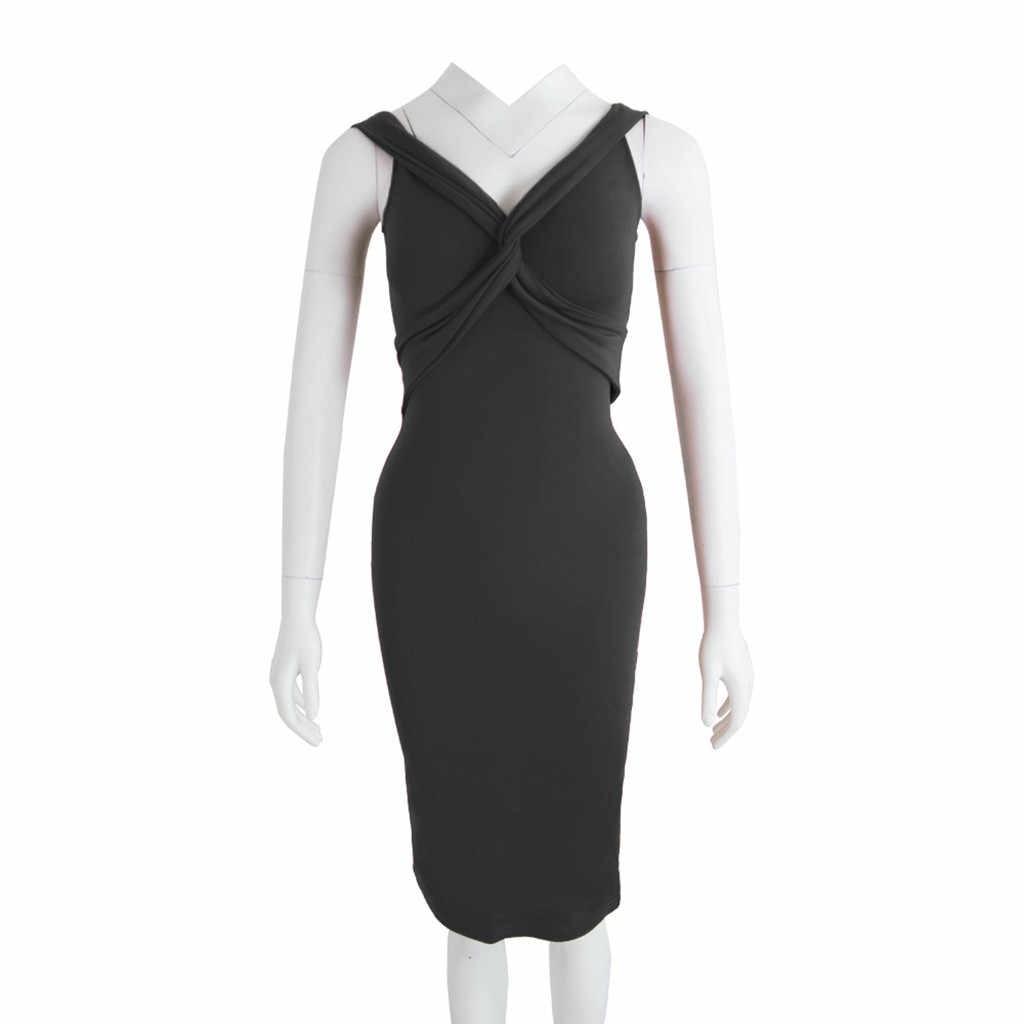 ผู้หญิง Bodycon ปิดชุดไหล่เซ็กซี่ V คอชุดเข่าความยาวพรรค Clubwear Vestidos De Fiesta ผู้หญิง Slim Dresses Hot ขาย