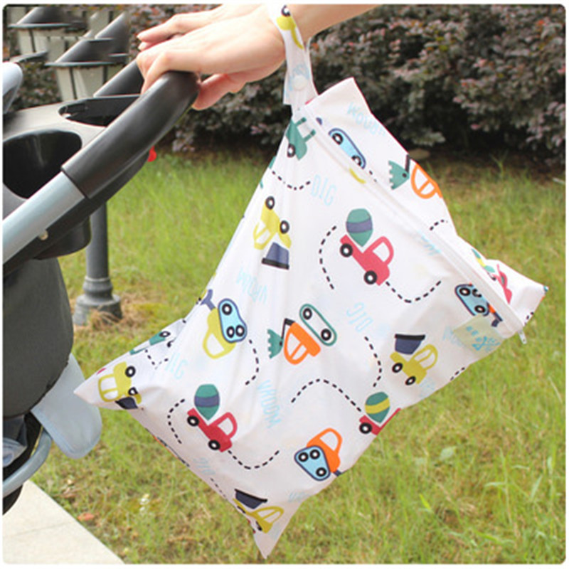 Childern Print Waterproof Diaper Bags Single Layer Zipper Kids Stroller Outgoing Storage Bag Infant Reusable Travel Wet Dry Bag