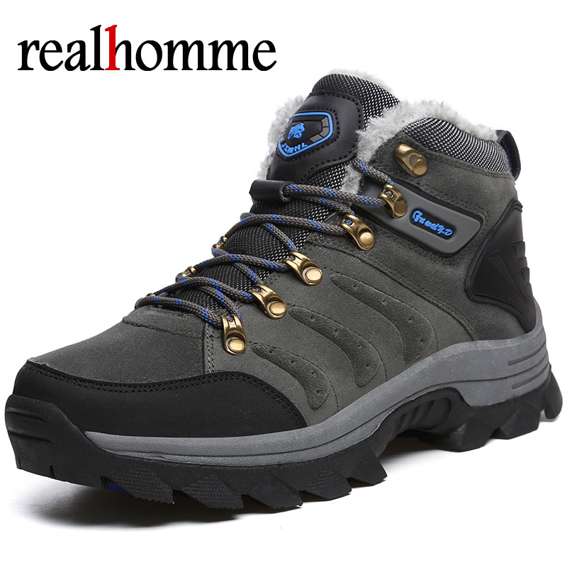 RealHomme New Winter Snow Boots Men Super Warm Men Sneakers Boots Lace Up High Quality Masculine Boot Shoes for Man Plus Size size 11 for men winter running shoes super warm snow boots lightweight walking sports lace up sneakers man thick velet trainers