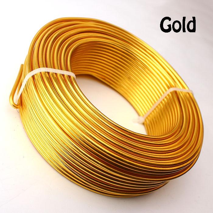 0,5 кг анодированная художественная алюминиевая проволока 2,5 мм 10 Калибр 39 м 43yd цветные украшения Мягкая металлическая проволока постоянные цвета - Цвет: Gold