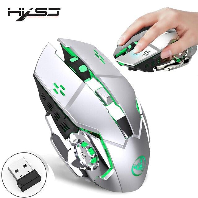 HXSJ 2,4g gaming maus 2400 dpi wiederaufladbare grau 7 farbe hintergrundbeleuchtung kann ausgeschaltet PC maus für drahtlose laptop USB