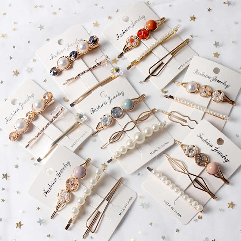 3PCS Girls Pearl Hair Clip Fashion Metal Hairclip Barrette Stick Women Hair Pins Bobby Hair Accessories Styling Elegant Hair