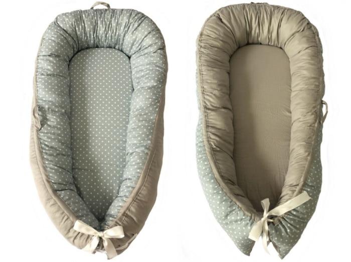 Детская кроватка-гнездо переносная съемная и моющаяся кроватка дорожная кровать для детей Младенческая Детская Хлопковая Колыбель - Цвет: GRAY STARS