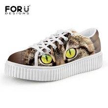 FORUDESIGNS Women Shoes Cute Cat Imprimir Creepers Cordones de la Plataforma de La Vendimia Zapatos Planos Ocasionales de Las Señoras Zapatos de Mujer Talla 35-41