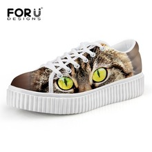 New Fashion Women Shoes Cute Cat Print Creepers Vintage Lace-Up Platform Flat Shoes Ladies Casual Zapatos Mujer Size 35-41