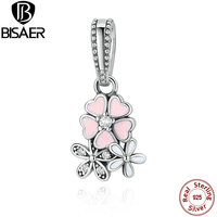 925 Sterling Silver Jewelry Poetic Blooms Mixed Enamels Clear CZ Pink Flower Charms Fit Pandora Bracelet
