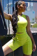 European American style sports wear for women gym sexy crop top pants neon workout mujer yellow streetwear