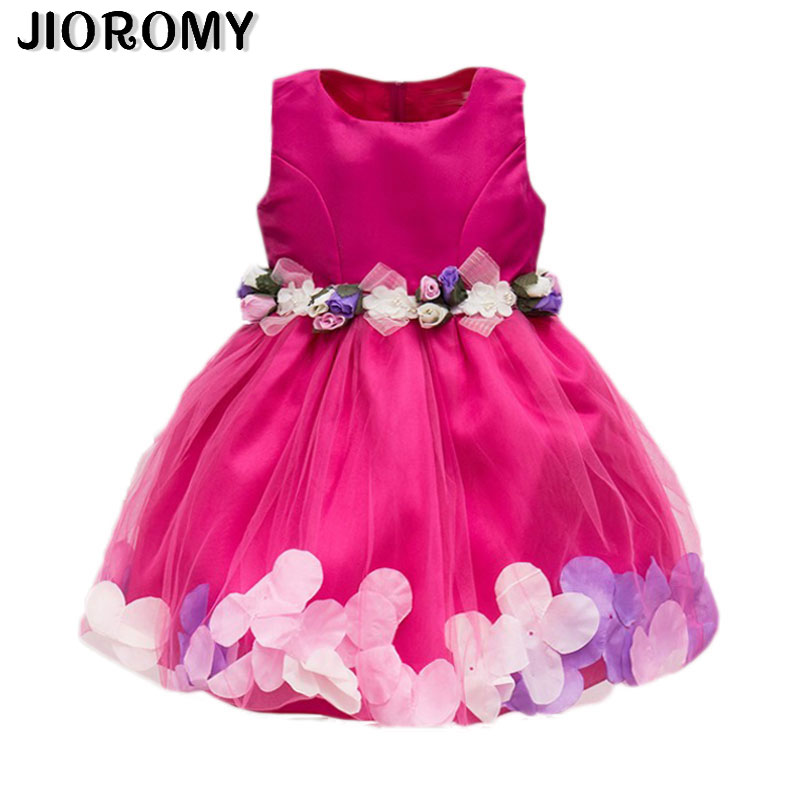 JIOROMY New Fashion Sequin Flower Dress Party Birthday Wedding <font><b>Princess</b></font> <font><b>Toddler</b></font> Baby Girls Clothes Children Kids Dresses k1 image