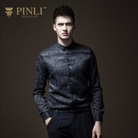 Pinli Real Pin Lai 2018 New Style Men's Wear Cultivate One's Morality Jacquard Pure Color Long Sleeved Shirt,fashion B183413362