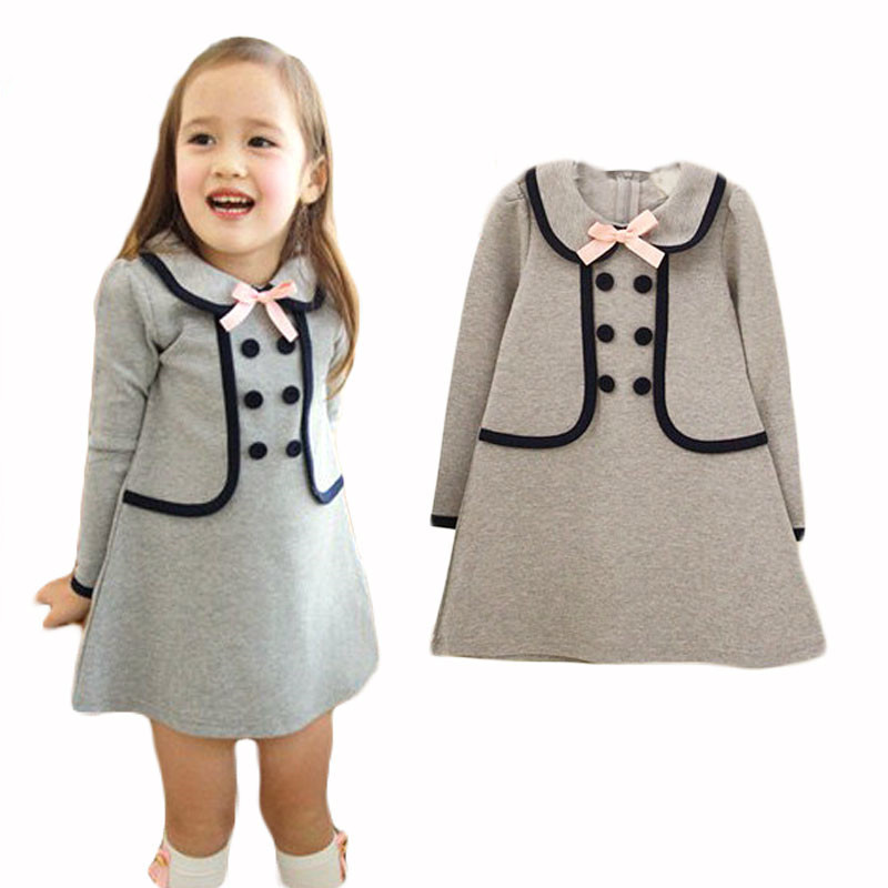 3-7 Years New Summer Children Girls Dress Cotton Long Design T-shirt Double-breasted Buttons Sub School Navy Lovely Girl Clothes