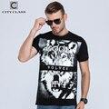 Ciudad para hombre t-shirt tops tees gimnasio hip hop de los hombres camisetas de algodón homme camisetas t shirt marca clothing animal lobo blanco roto 2023