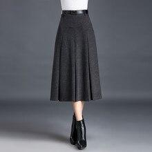 2019 más tamaño Otoño Invierno Color sólido faldas peludas mujeres plisadas Poncho falda moda A-Line Slim Fit Midi falda A3791