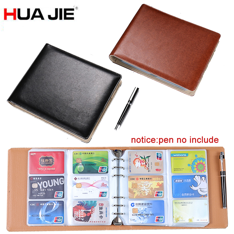 HUA JIE 360 Slots Spring Binder Business Card Stock Case Men Credit/Name/ID/Band Card Holder Book PU Leather Protector Organizer bovis 5102 02 casual man s pu credit name card wallet slots coffee