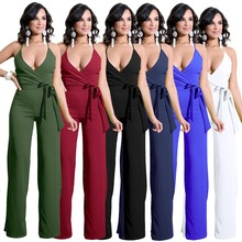 Summer popular new fashion strap sexy female jumpsuit waist high loose wide leg trousers casual