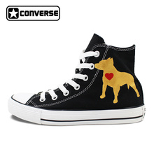 Custom Black Converse Chuck Taylor Hand Painted Shoes Pet Dog Pitbull High Top Canvas Sneakers for