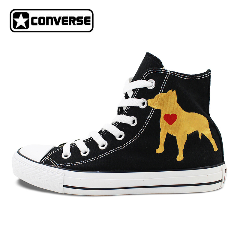 Custom Black Converse Chuck Taylor Hand Painted Shoes Pet Dog Pitbull High Top Canvas Sneakers for Gifts Presents