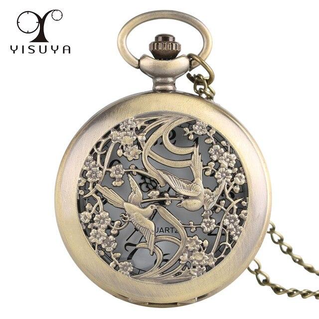 New Vintage Lover Bird Pattern Pocket Watch with Necklace Chain Quartz Movement