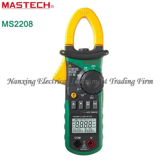 FAST SHIPMENT Mastech MS2208 Harmonic Clamp meter On Type Power Meter Tester Multimeter Measures True RMS mastech ms2208 harmonic power factor clamp meter tester multimeter dmm mastech