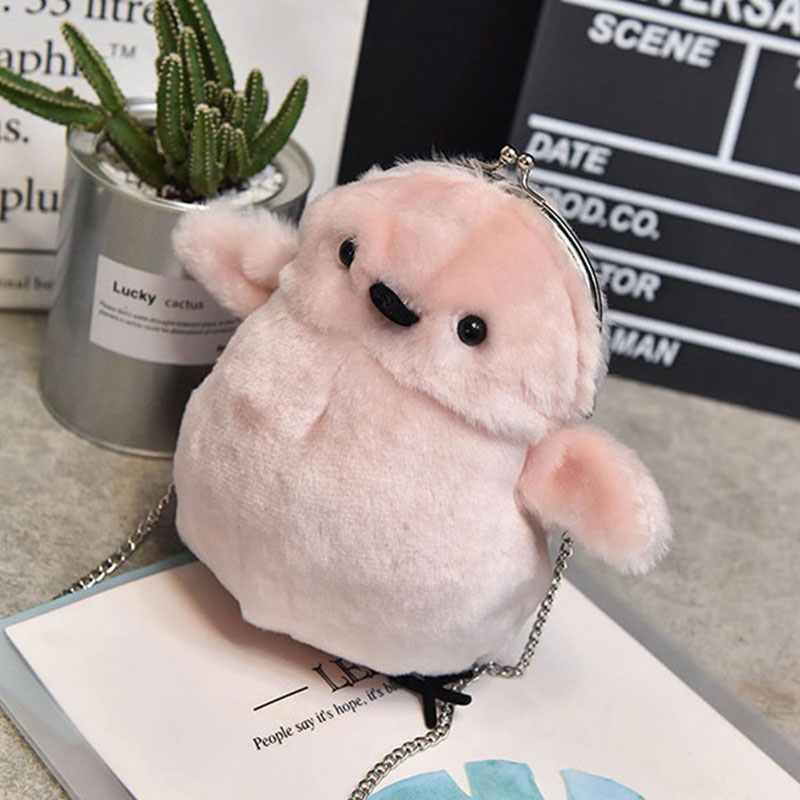Wulekue Personality Women Evening Bag Lovely Cartoon Plush Chicken Chain Bag Mini Fur Crossbody Bags Ladies Coin Purse