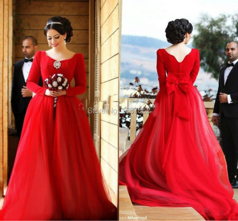 Us 155 0 Charming Red India Arabic Wedding Dresses Long Sleeves Tulle Latest Design 2015 Bridal Gown Ball Gown Vestido De Noiva Vintage In Wedding