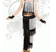 New Arrival Black  White  Tassel Latin Dance Salsa Woman Pants Girls Tango Dance Costumes Fringe Clothes / Samba Pants