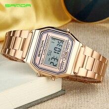 199ed82c534 SANDA Ouro dos homens Relógios Top Marca de Luxo LED Relógio Digital Homens  de Moda À Prova D  Água Subiu de Ouro Relógio Relogio masculino Saat 405 em  ...