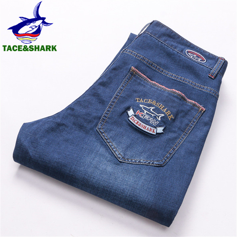 TACE&SHARK Brand Men Jeans High Quality Male Business Casual Shark Denim Pants Fashion Embroidery Trousers Plus Size 2018