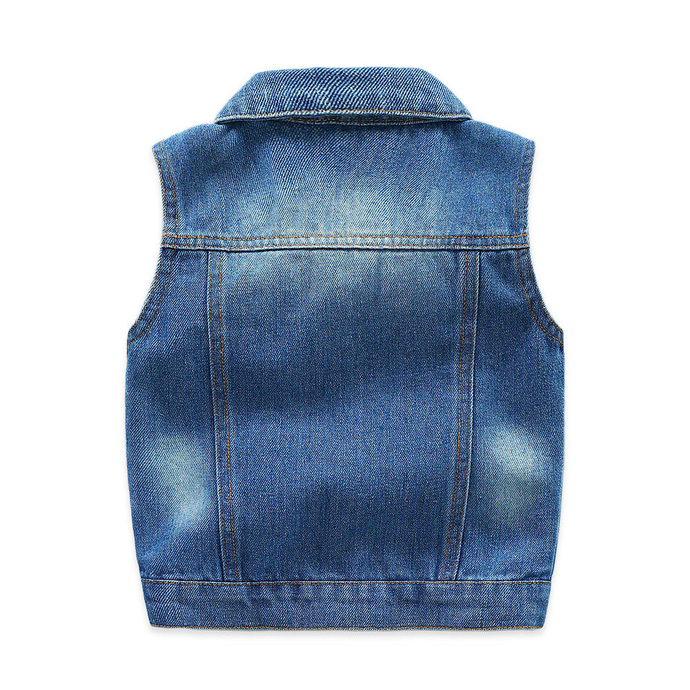 2019 New Summer Sleeveless Kids Boy Denim Waistcoat Jeans Children Vest Baby Boy Tops Outerwear With Dinosaur Embroidery 2 9Y in Vests from Mother Kids