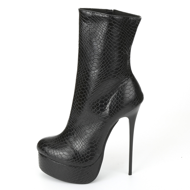 Image 4 - jialuowei Women Fetish Ankle Boots Sexy Super High Heel Platform  Boots Crocodile Print Shiny Unisex Party Wedding Female ShoesAnkle  Boots