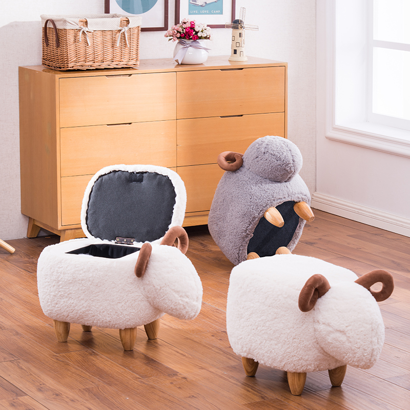 Practical Chpermore Cute Animal Dog Hippo Children Ottomans Kindergarten Kids Shoe Bench Multifunction Simple Chair Living Room Furniture