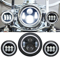 7 Inch Chrome Motorcycle Daymaker LED Halo Headlight 4 1 2 Fog Lights DRL For Harley