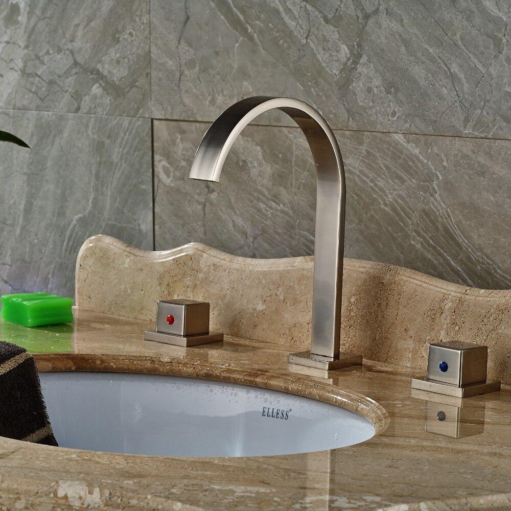 Nickel brossé salle de bains généralisée salle de bains bassin robinet double poignées mitigeur