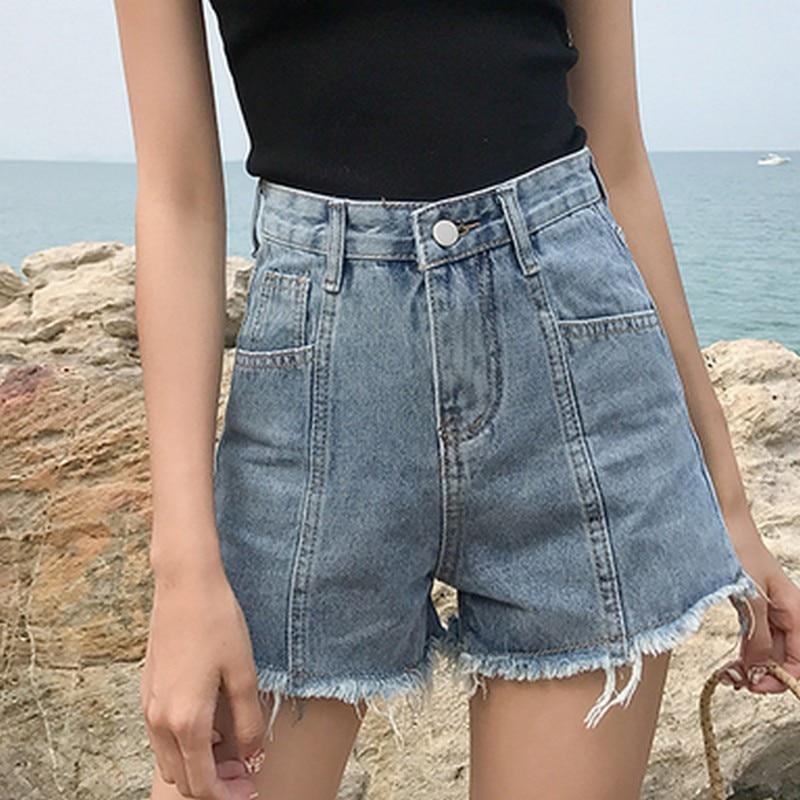 EXOTAO Mini Pockets Boyfriend   Jeans   For Women Fashion Solid Color Denim Shorts Summer Casual Tassel   Jeans   Hot Shorts Femmes