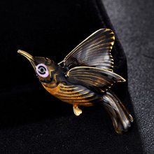 Cool Brown Jet Enamel Birds Brooches For Men Jewelry Hijab Accessory Statement Women's Personality Birds Broches Bags Bijoux(China)