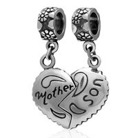 Mother Son Heart Charm Jewelry Original 925 Sterling Silver Pendants DIY Fits For Pandora Bracelets SS2990