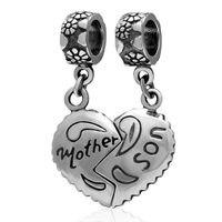 Madre y Hijo Corazón Cuelga Charm Original 925 Plata Esterlina Granos Del Encanto Del Corazón Adapta para Pandora Pulseras Al Por Mayor