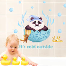 hot deal buy diy cute panda wall sticker for baby bathroom decor wall stickers for kids rooms cartoon door stickers/glass stickers removable