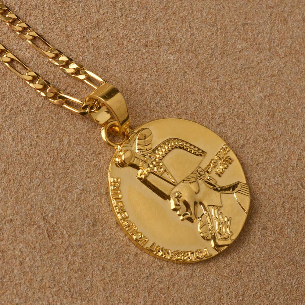 Gold Color Haiti Round Pendant Necklaces For Women Men Jewelry Haitian Gifts #J0611