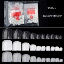 500pcs Toe Nails Full Cover False Square Nail Tips Manicure Acrylic gel DIY Clear White Natural Fake (0-9) 10 Sizes