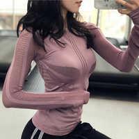 Yoga Tops mujer ropa deportiva S M L malla de aire de manga larga Camiseta para correr para Yoga Jogging Deporte Tops Fitness gimnasio ropa mujer