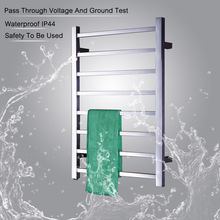 New Design Electric Heated Towel Rack Square bars drying Heater Popular Type Rails Bathroom Towels TW-SQ8