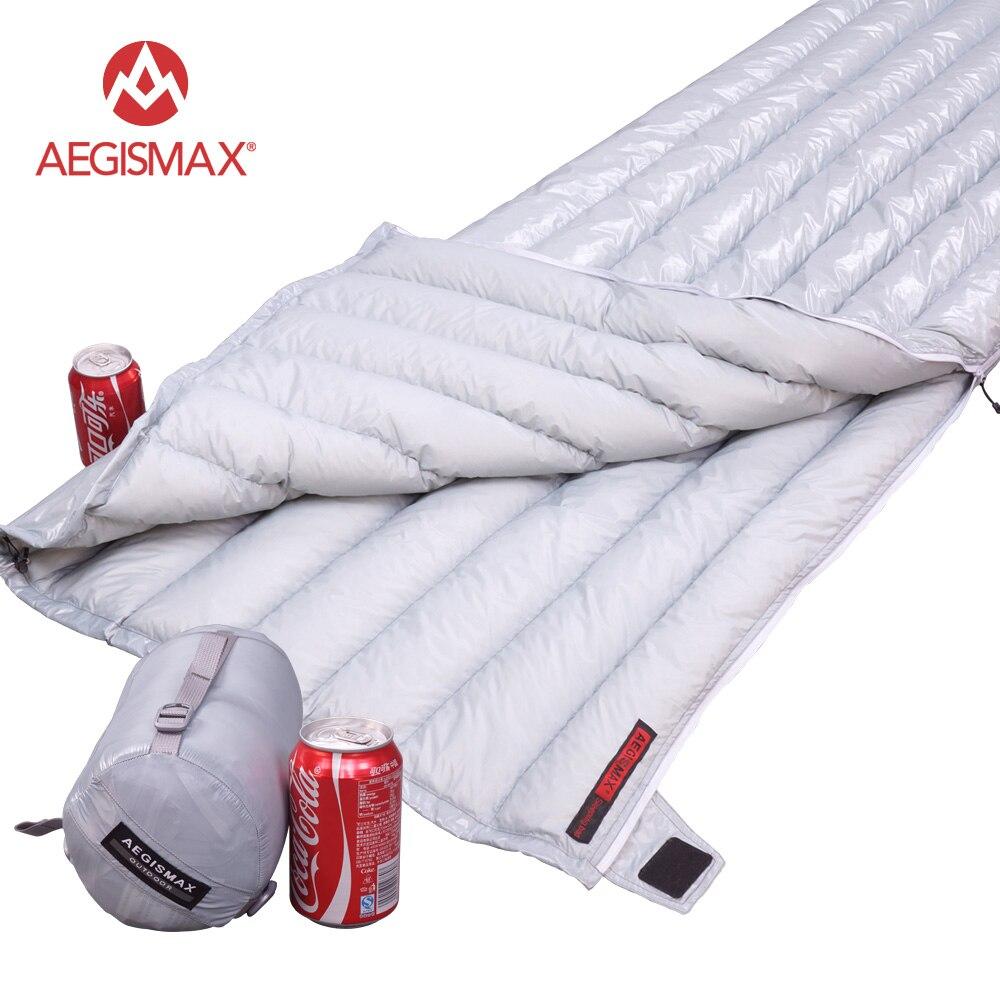 AEGISMAX Allongé Ultra-Léger Enveloppe type Blanc Duvet d'oie Camping Randonnée En Plein Air Sacs de Couchage 200X82 cm