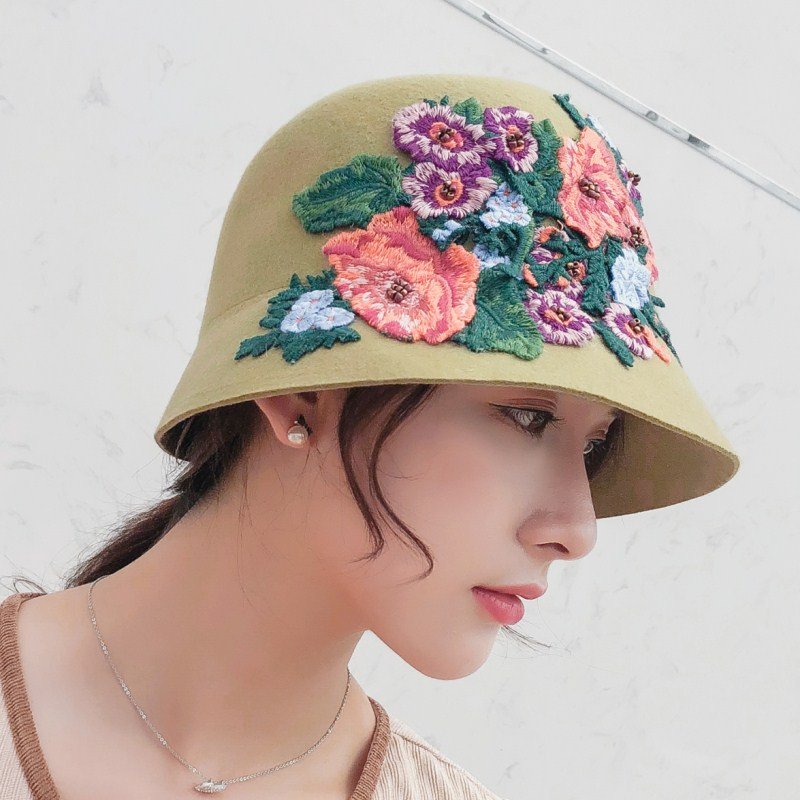 8c7d2c87 Seioum Autumn winter England retro Women Winter 100% Wool Felt Hat...