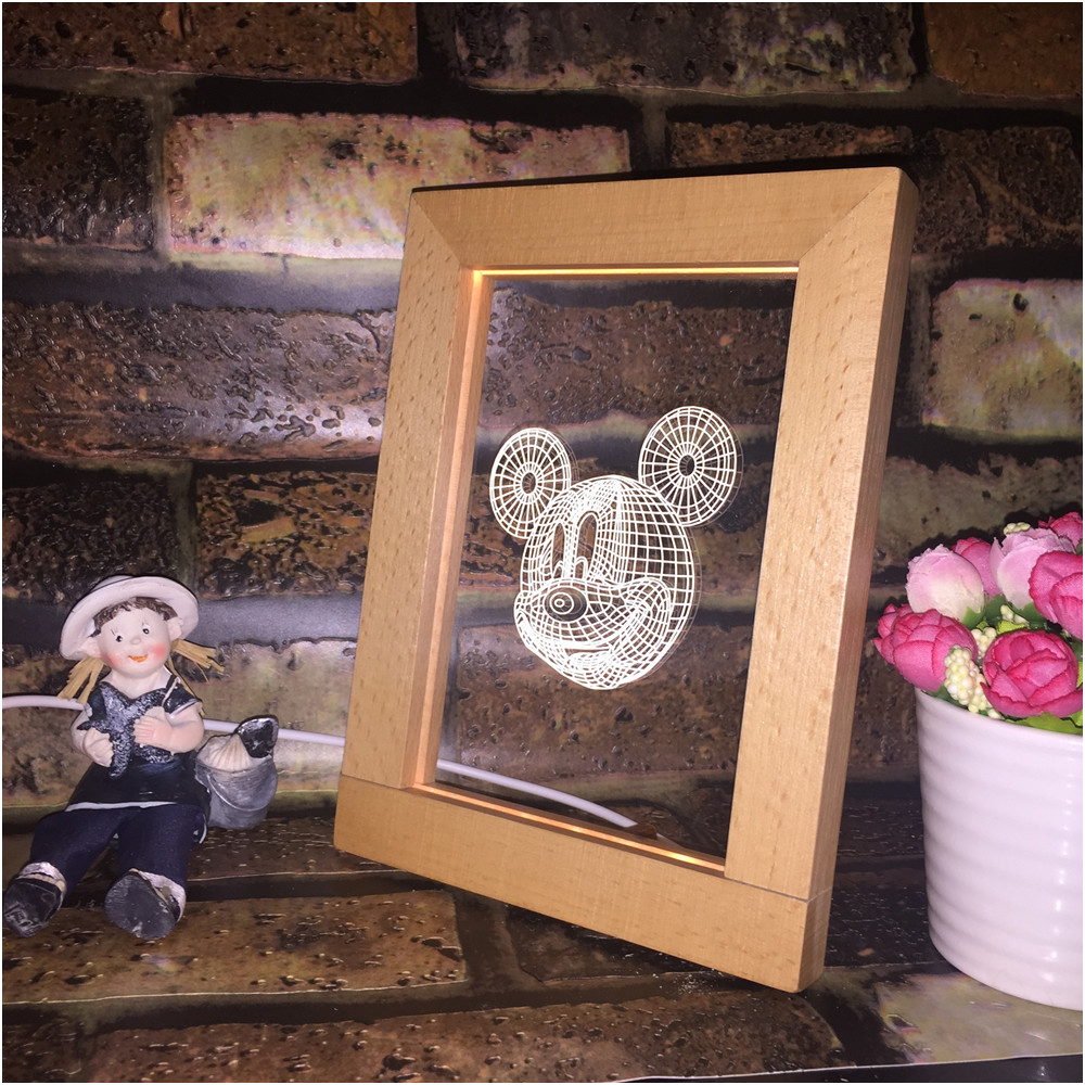 Newest Novelty 3D Illusion Photo Frame LED Night Light Wood Desk Table Decoration with USB Cable Acrylic Flat Kid Christmas GiftNewest Novelty 3D Illusion Photo Frame LED Night Light Wood Desk Table Decoration with USB Cable Acrylic Flat Kid Christmas Gift