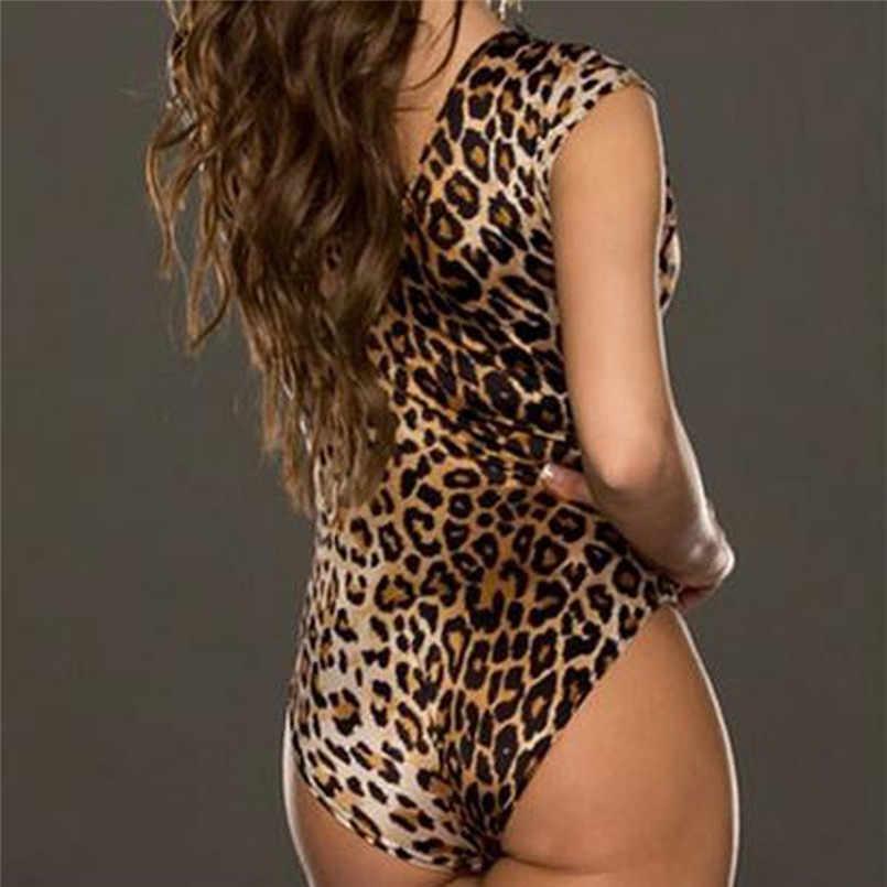 เสือดาวเซ็กซี่ Bodysuits แฟชั่นสตรี V-Neck ใหม่ล่าสุดสบายๆผอม Romper Combinaison Femme 2019 ขายร้อน 1