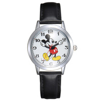 Children Boy Wrist Watch Disney Brand Mickey Avatar Genuine Leather Waterproof Digital Quartz Watches Cartoon Anime